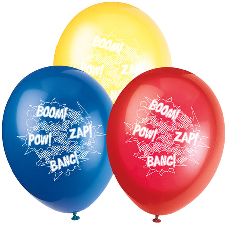 Superhero Latex Balloons - Red, Blue & Yellow - Pack of 10