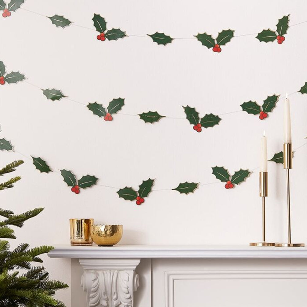 Holly Leaves Christmas Garland - 5m