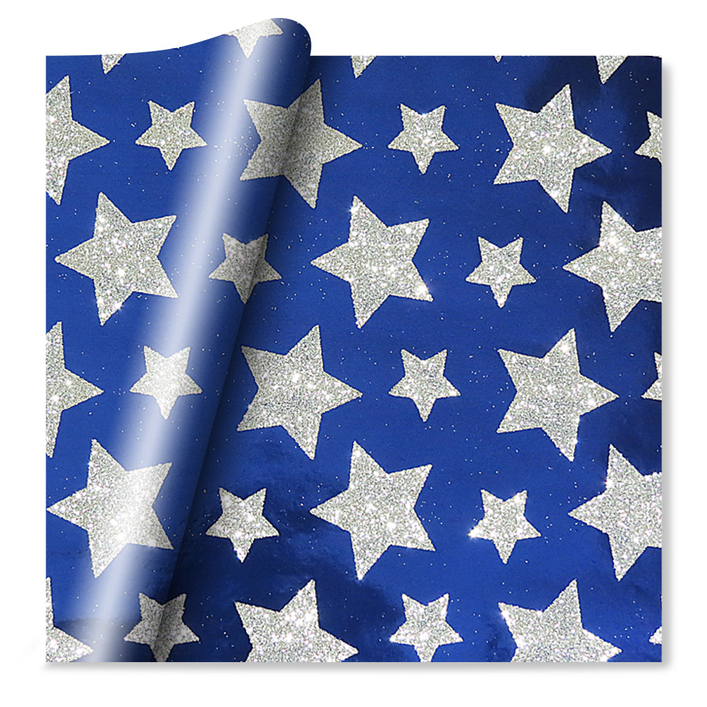 Blue & Silver Stars Wrapping Paper - Foil & Glitter - Quality Paper Gift Wrap - 70cm