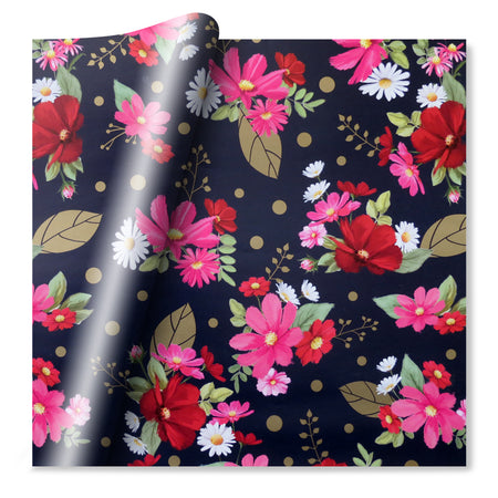 Floral Wrapping Paper- Pink & Navy - Quality Paper Gift Wrap - 70cm