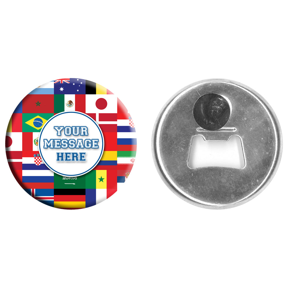 Personalised Bottle Opener Magnet - International Multi Country - 58mm