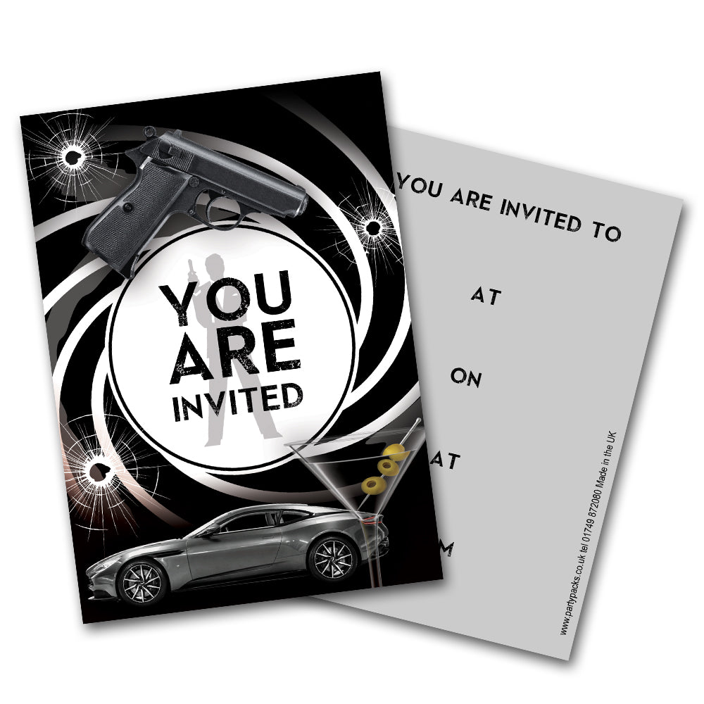 Secret Agent Themed Party Invites - Pack of 8