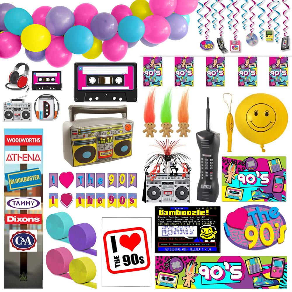 90's Large Decoration and Novelty Party Pack