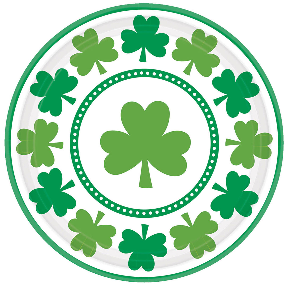 Lucky Shamrocks Paper Plates - 22.8cm - Pack of 8