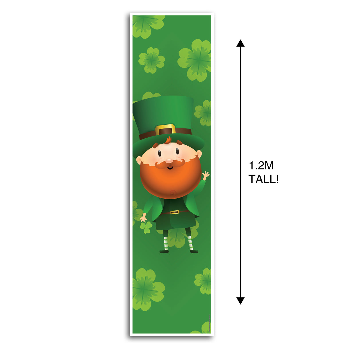 Leprechaun Lucky Shamrocks St. Patrick's Day Portrait Wall Banner Decoration - 1.2m