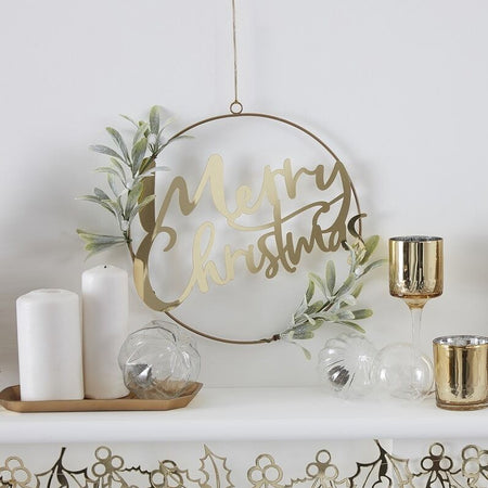 Gold Merry Christmas Door Wreath With Foliage - 30cm