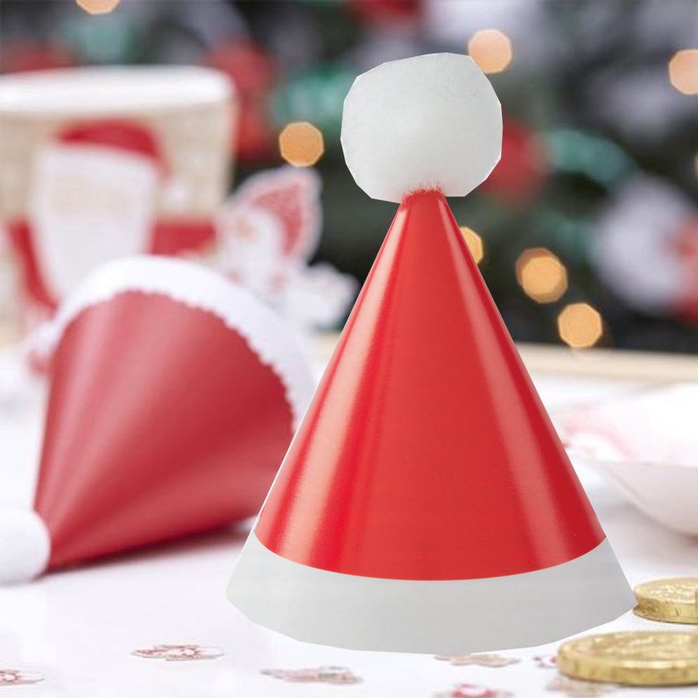 Mini Christmas Santa Pom Pom Cone Hats - Pack of 8