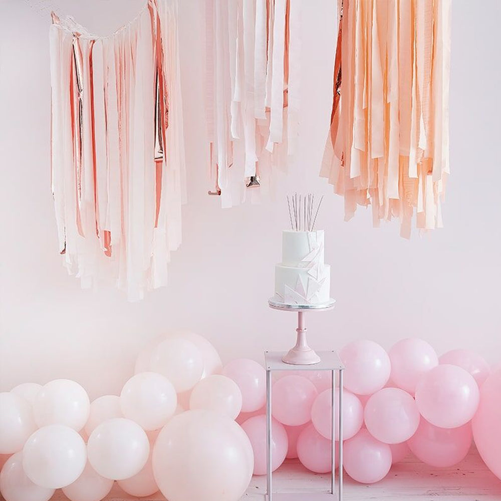 Blush and Rose Gold Ceiling Streamers Decoration Kit