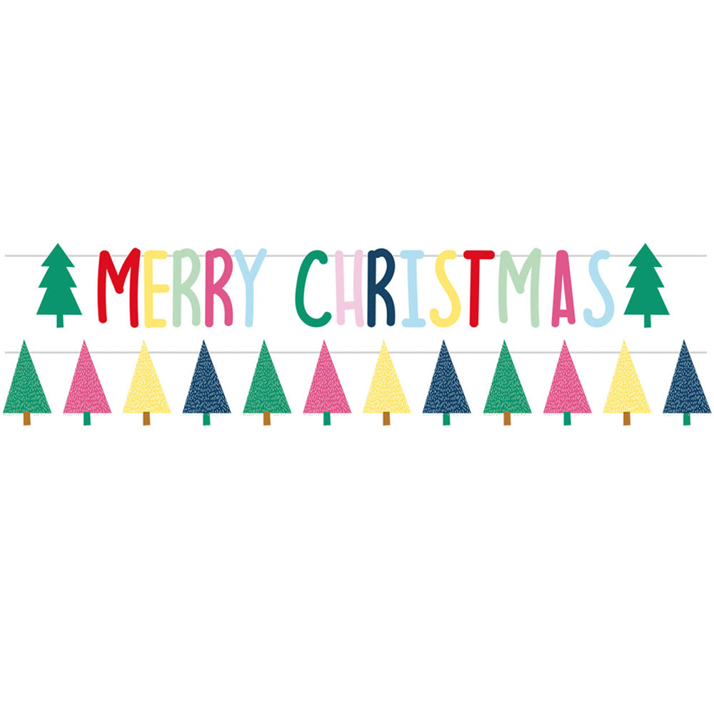 Merry Christmas Trees Letter Banner Kit