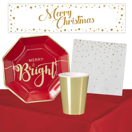Merry and Bright Christmas Tableware Pack For 8 People With FREE Banner
