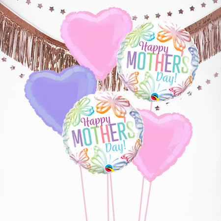 Inflated Mother's Day Pastel Butterflies Balloon Bundle in a Box