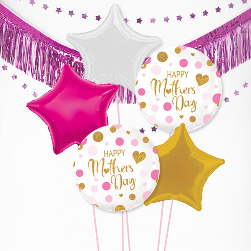 Inflated Mother's Day Pink Confetti Balloon Bundle in a Box