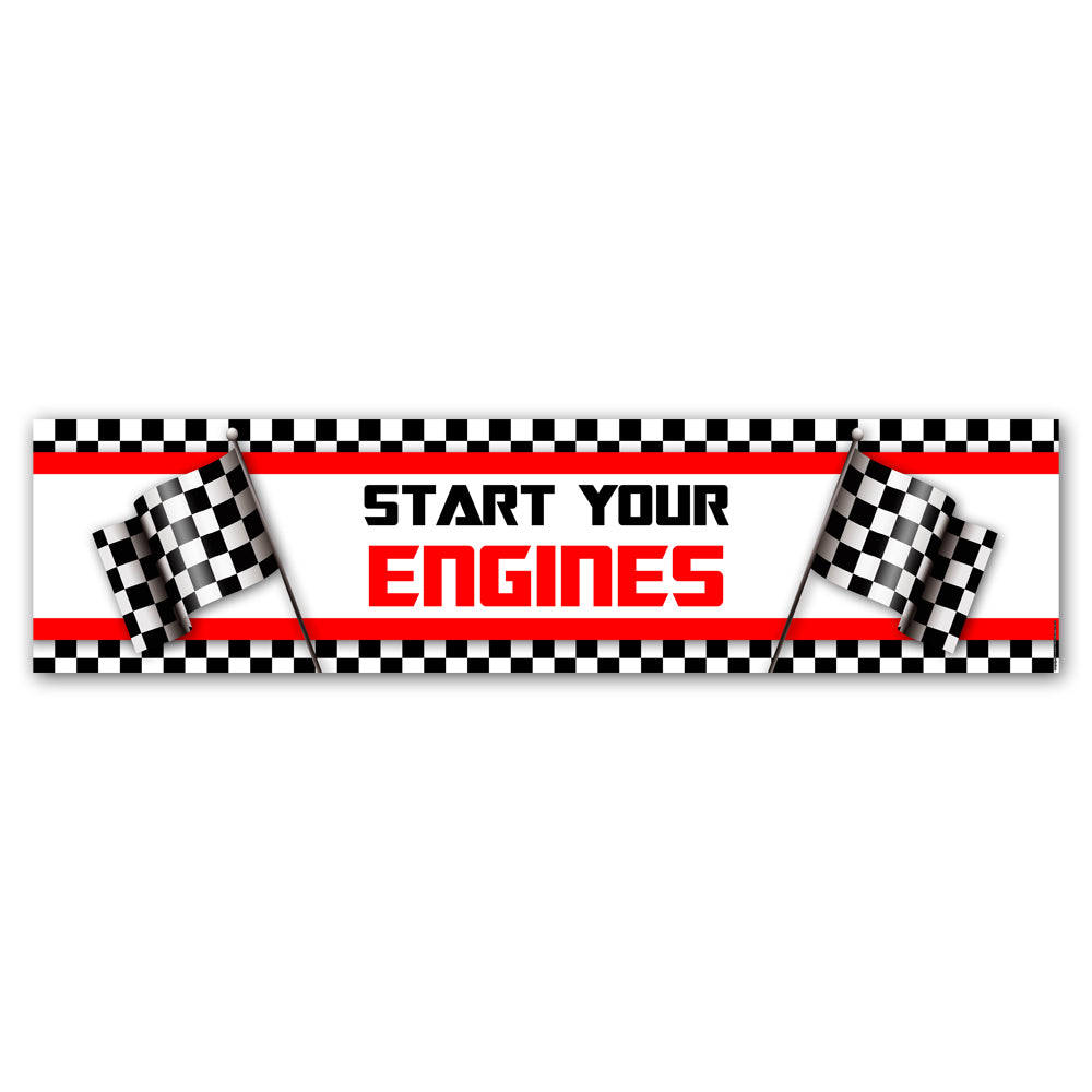 Motor Racing 'Start Your Engines' Banner Decoration - 1.2m