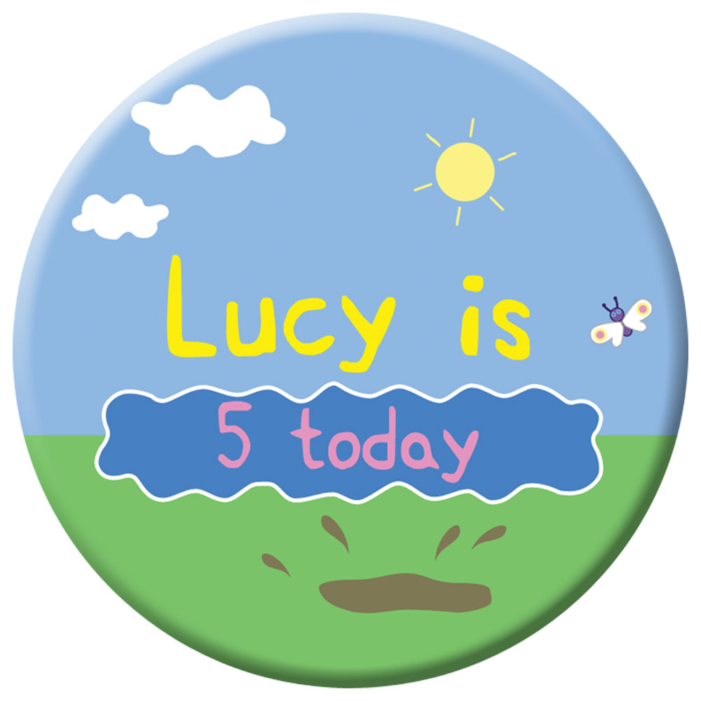 Personalised Muddy Pig Badge - 58mm