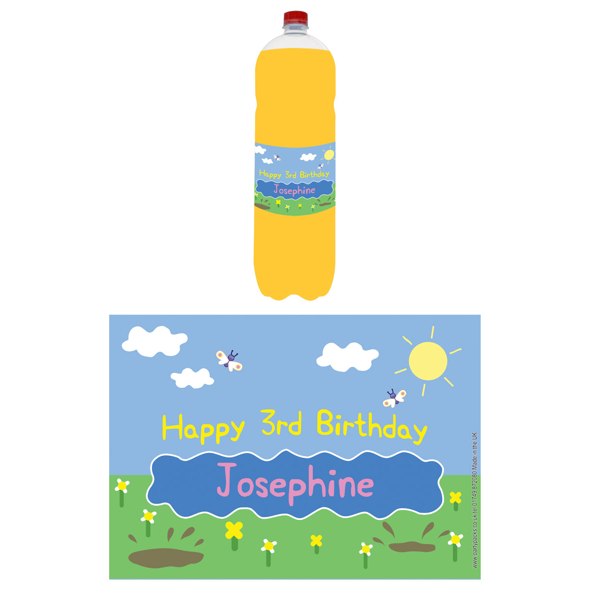 Personalised Bottle Labels - Muddy Pig - Pack of 4