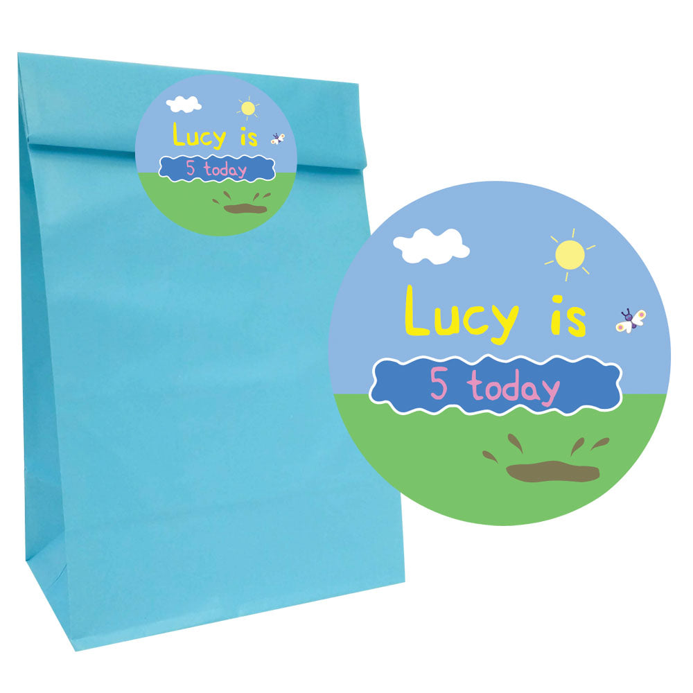Muddy Pig Party Bags with Personalised Stickers - Pack of 12