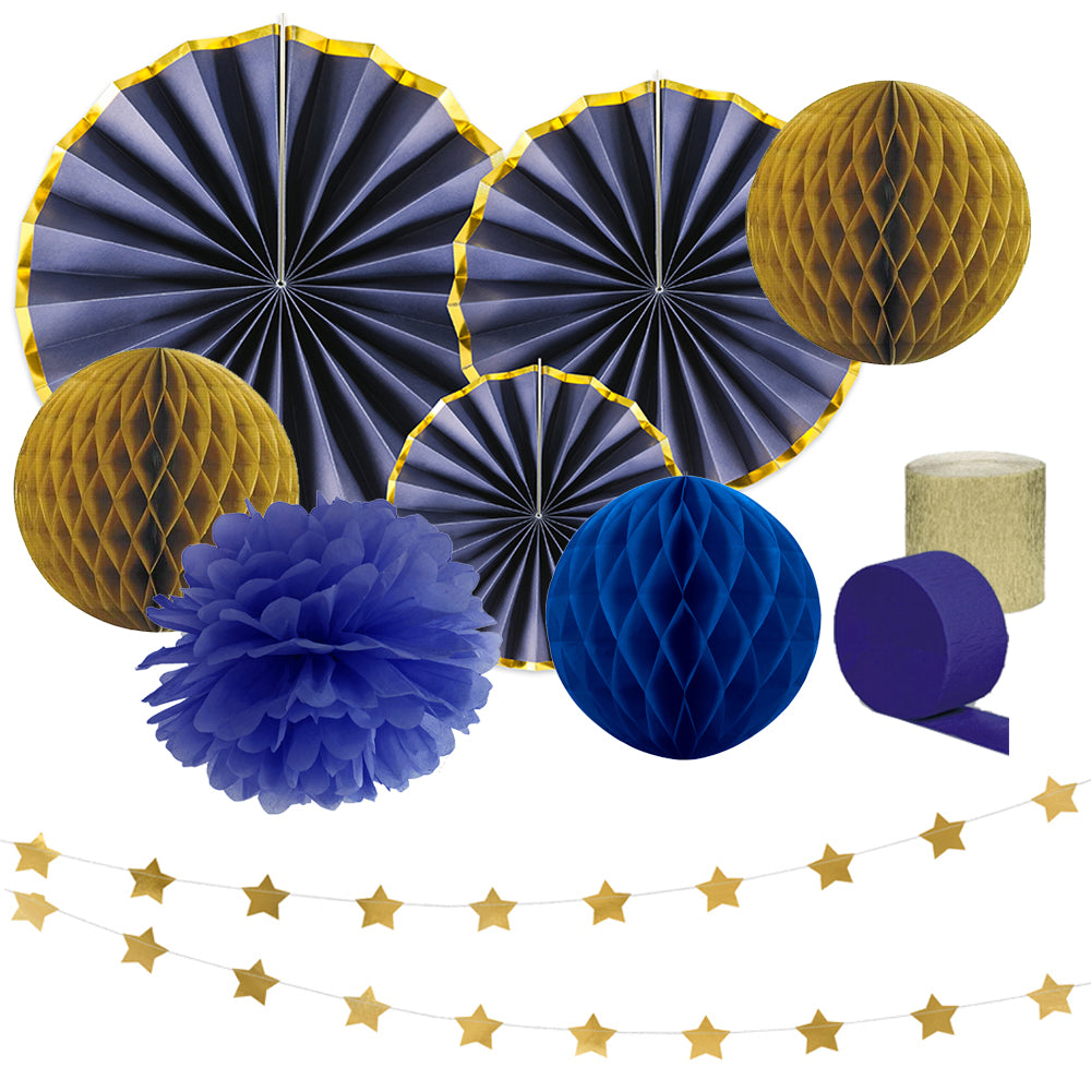 Navy and Gold Paper Decoration Pack