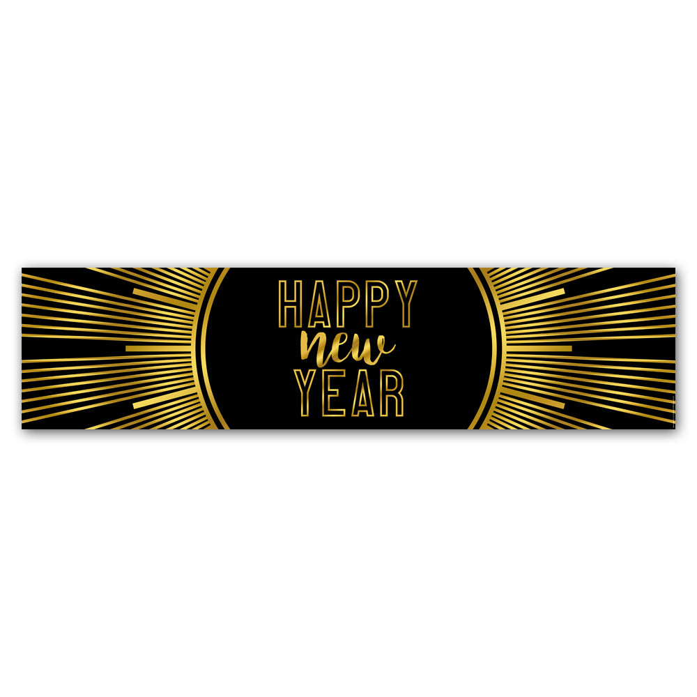 New Year's Eve Gold 'Happy New Year' Banner Decoration - 1.2m