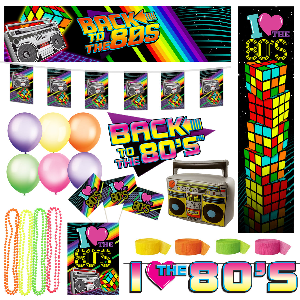1980's Party Decoration Party Pack