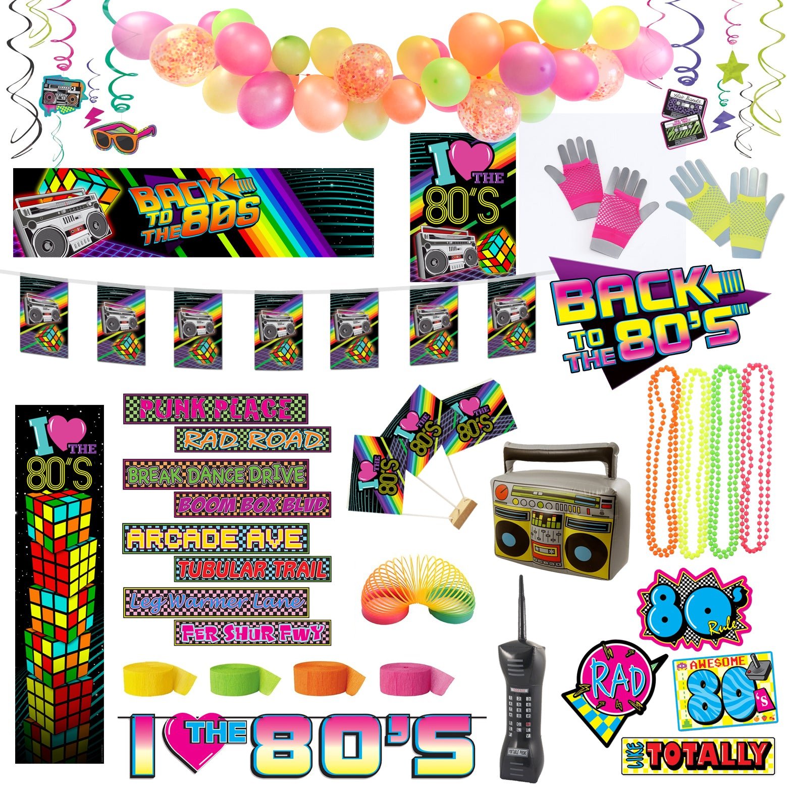 1980's Party Large Decoration Party Pack