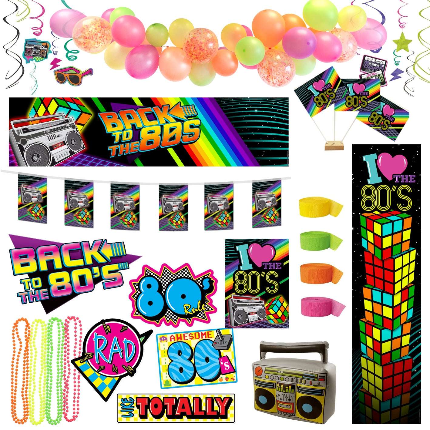 1980's Party Standard Decoration Party Pack