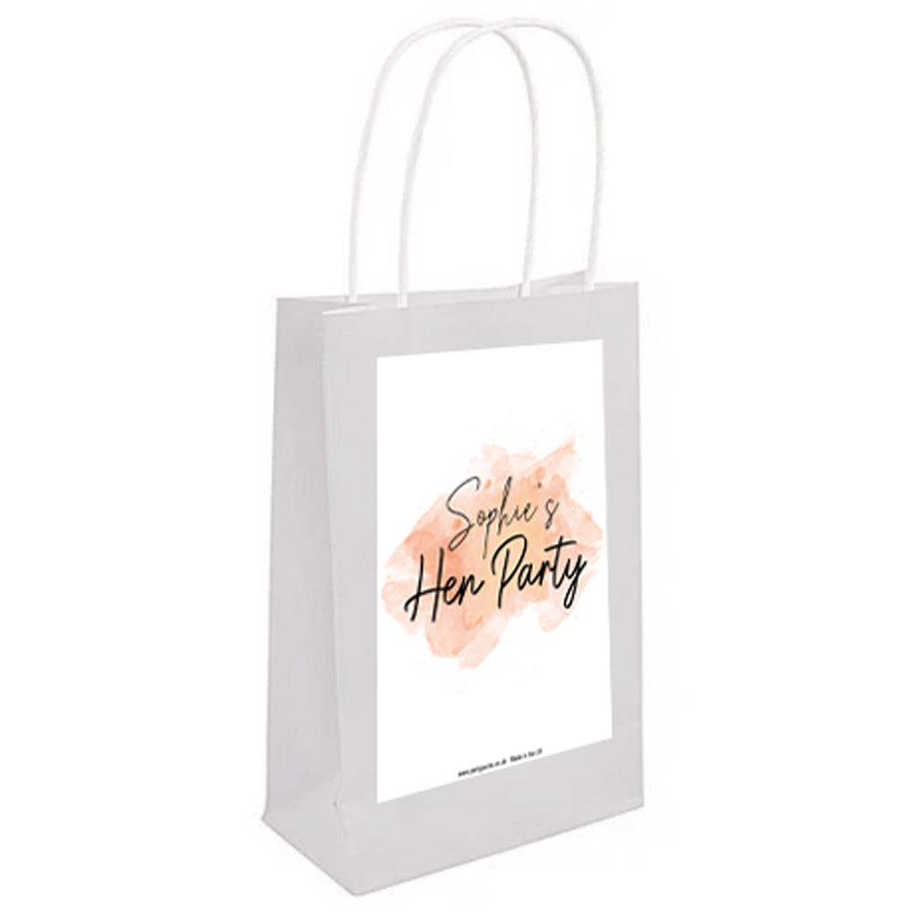 Personalised Blush Hen Party Paper Bags - Pack of 4