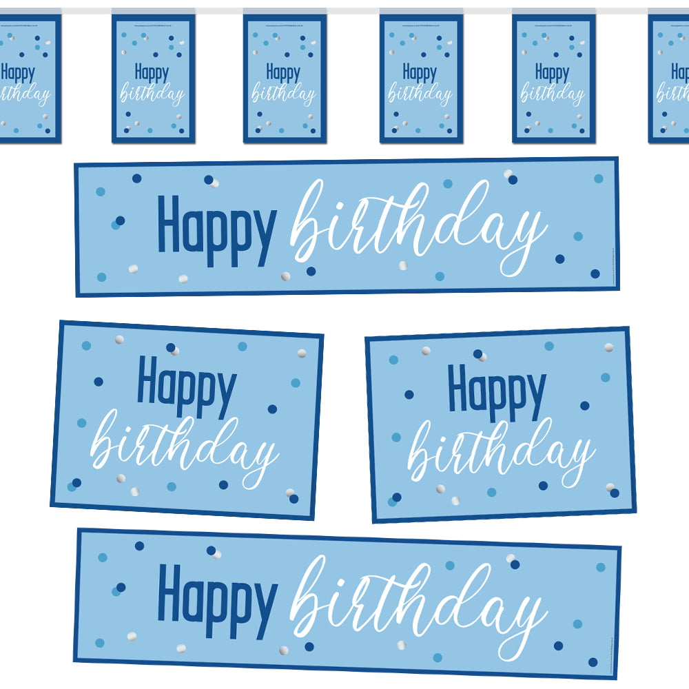 Glitsy Blue Happy Birthday Decoration Party Pack