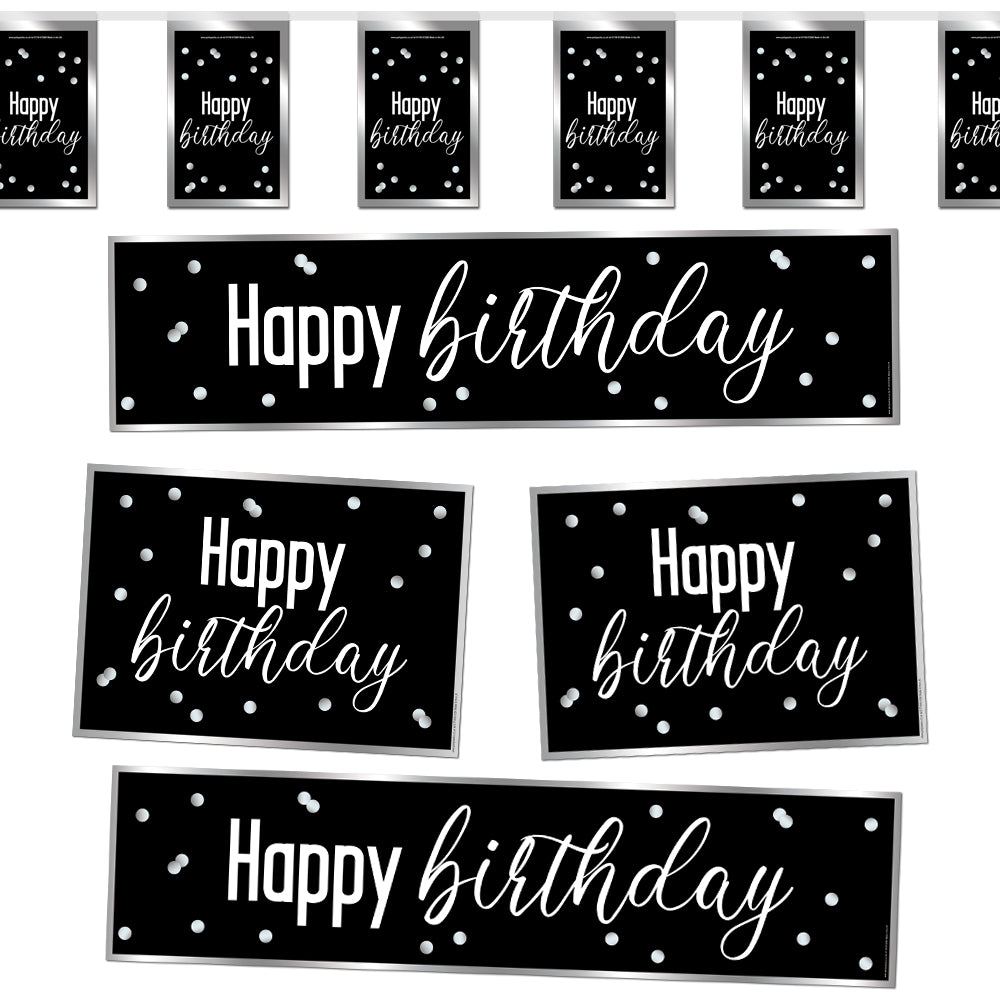 Glitsy Black & Silver Happy Birthday Decoration Party Pack