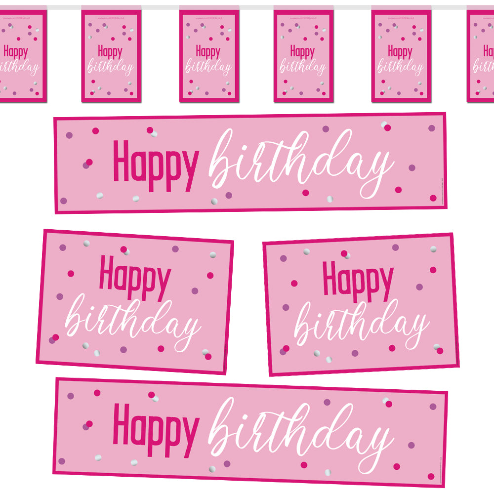 Glitsy Pink Happy Birthday Decoration Party Pack