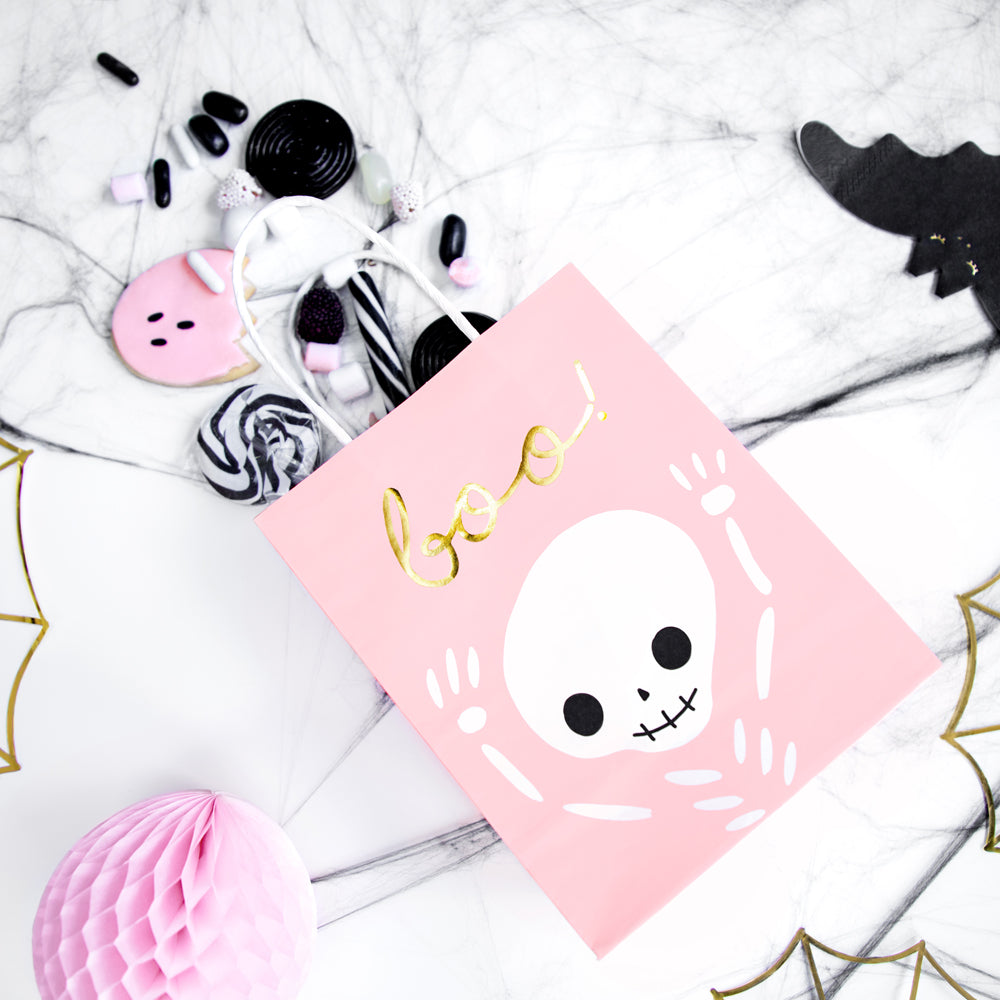 Pink Halloween Paper Party Bags - Pack of 6
