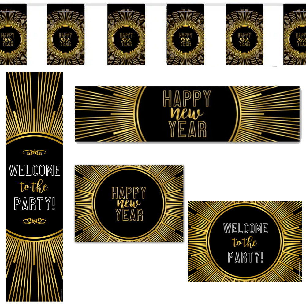 New Year's Eve Gold Decoration Pack