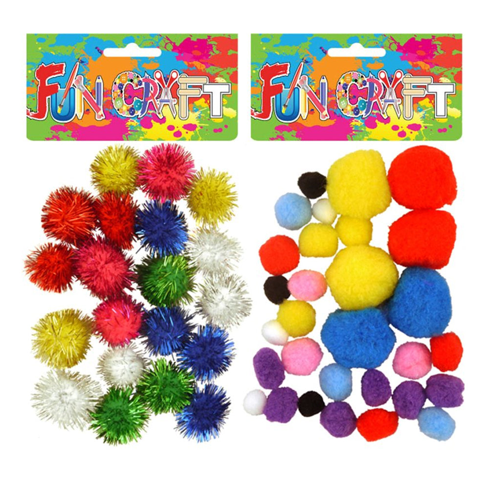 Bag of Craft Pom Poms - Assorted Designs