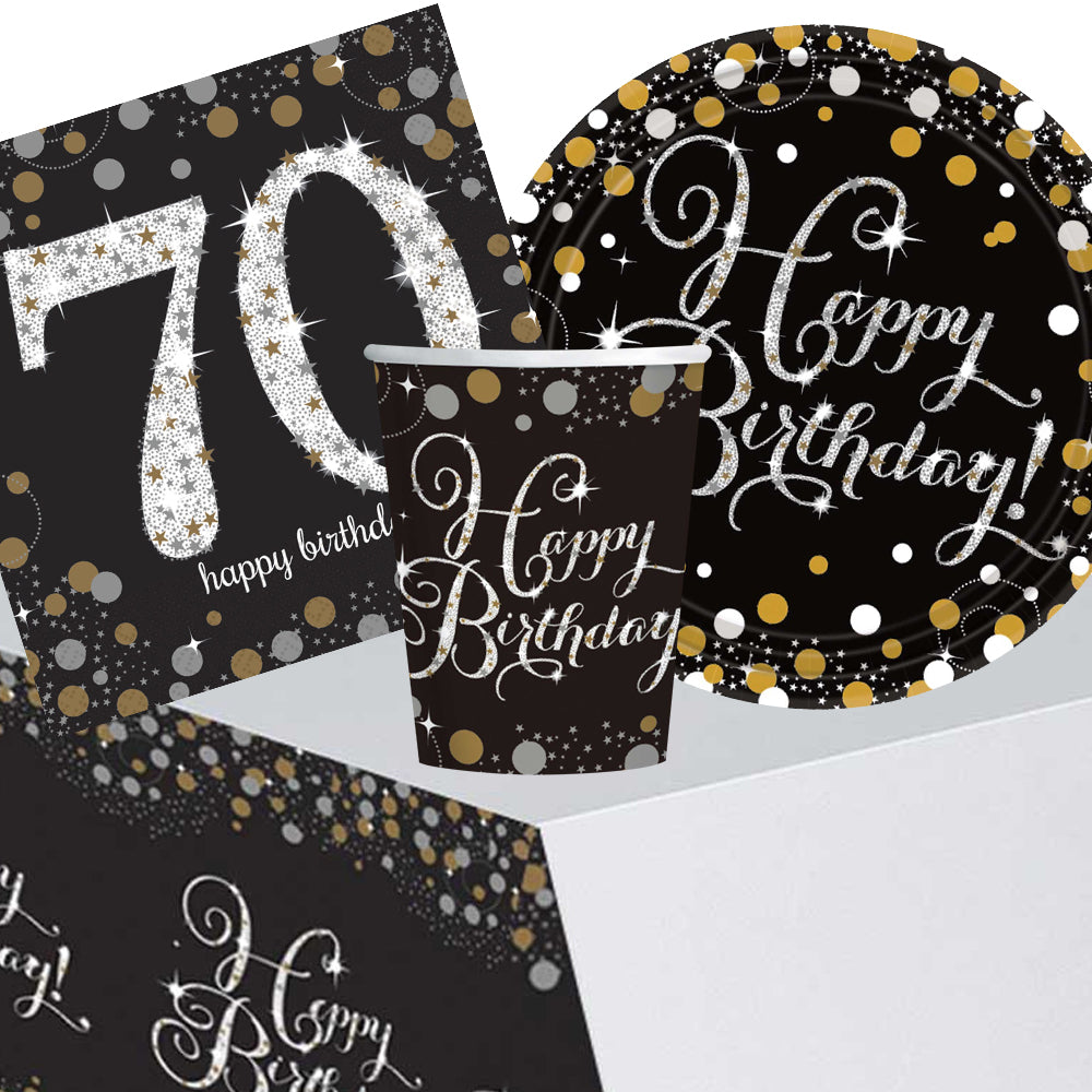 Gold Celebration 70th Birthday Tableware Party Pack - For 8 People