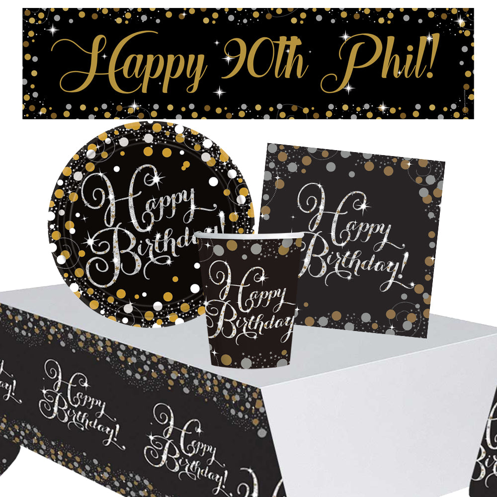 Gold Celebration 90th Birthday Tableware Party Pack for 8 with FREE Personalised Banner!