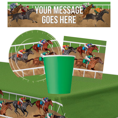 Horse Racing Tableware Pack for 8 with FREE Personalised Banner!