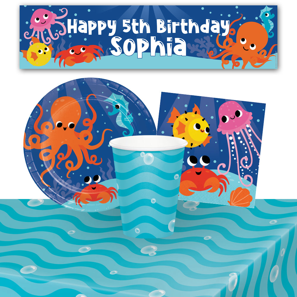 Sealife Tableware Pack for 8 with FREE Personalised Banner!