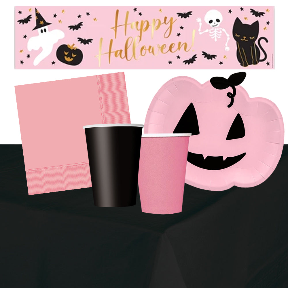 Pink Halloween Tableware Pack for 6 with FREE Personalised Banner!