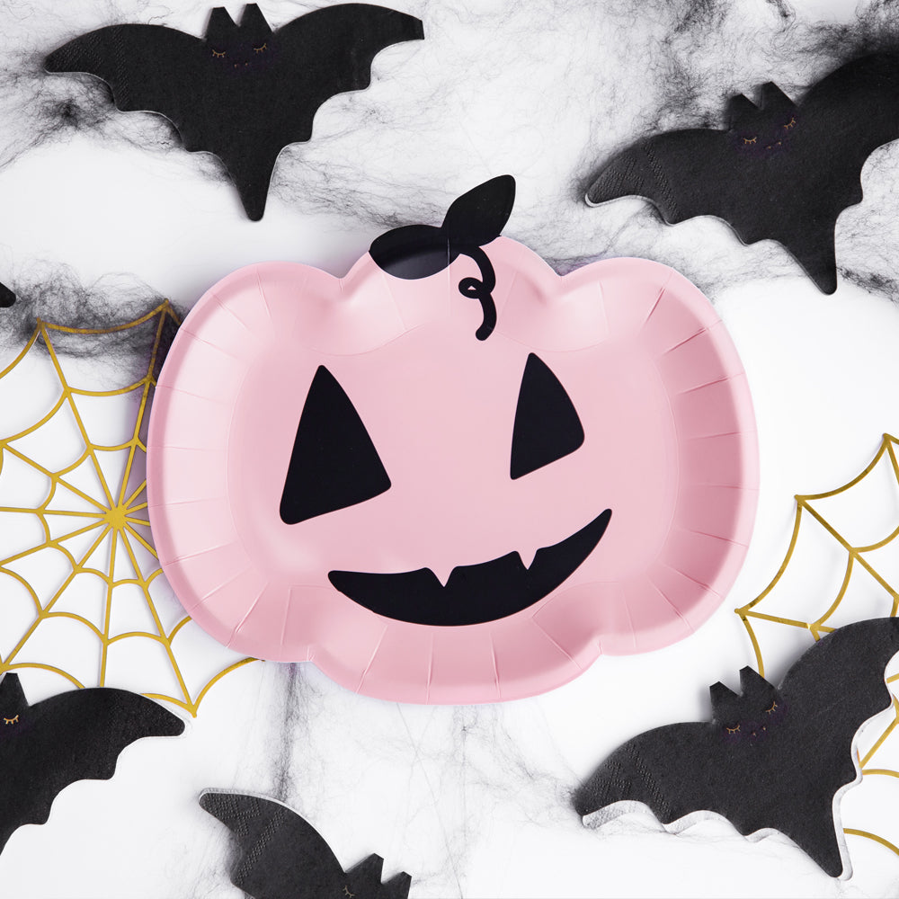 Pink Halloween Pumpkin Paper Plates - 25cm - Pack of 6