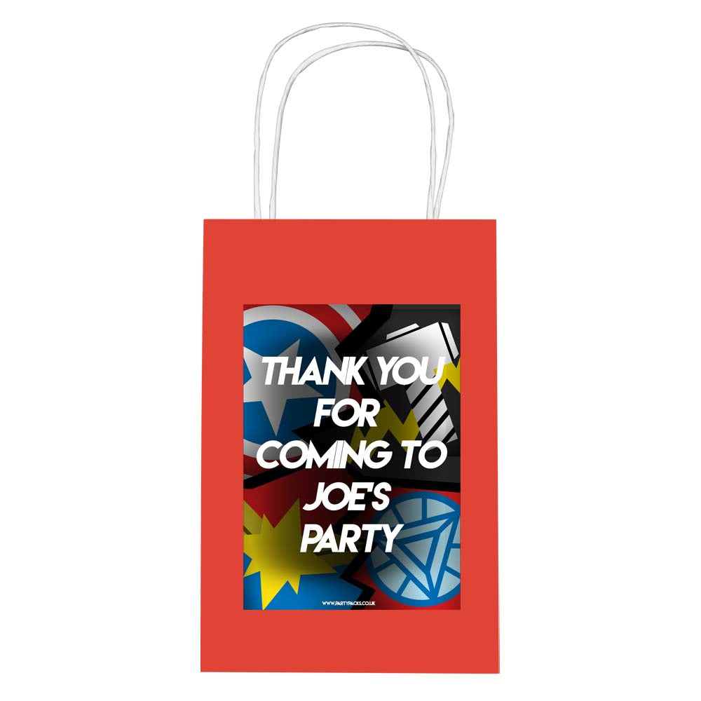 Superheroes Assemble Personalised Paper Party Bags - Pack of 12