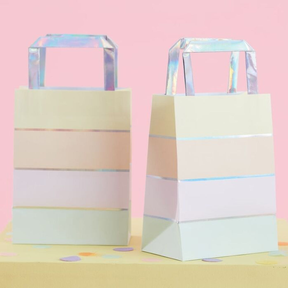 Pastel Rainbow and Iridescent Paper Party Bags - Pack of 5