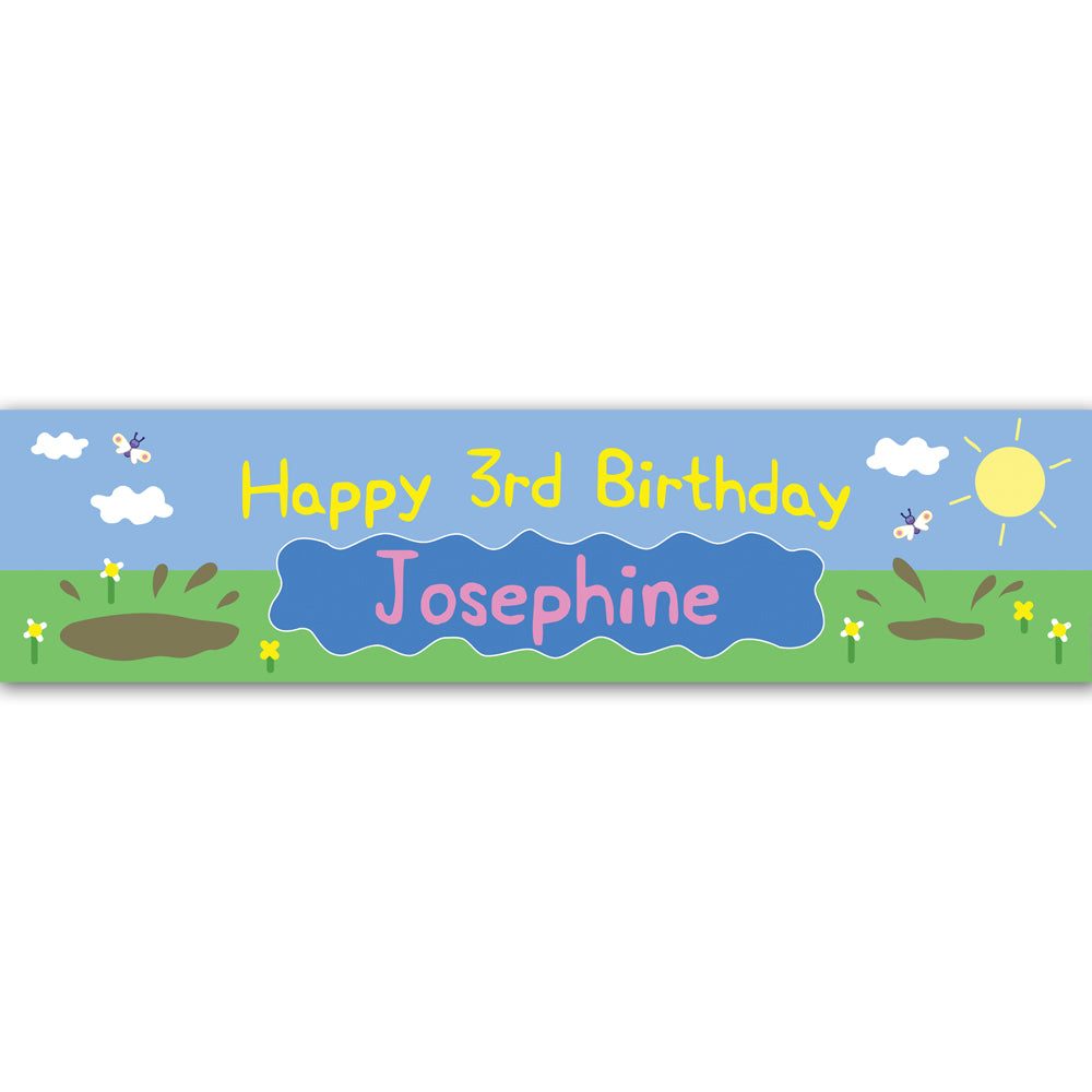 Muddy Pig Personalised Banner Decoration - 1.2m