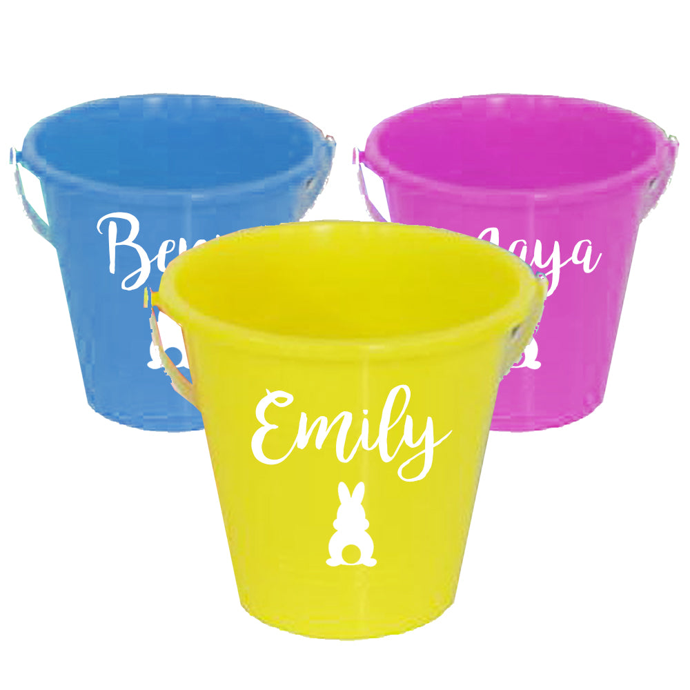 Personalised Easter Egg Hunt Bucket - Assorted Colours - 14cm - Each