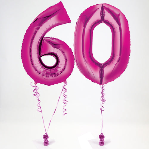 "Inflated Pink Giant 35"" Number Balloons in a Box - 2 Numbers - Choose Your Numbers"