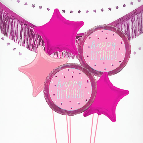 Inflated Pink Birthday Glitz Balloon Bundle in a Box