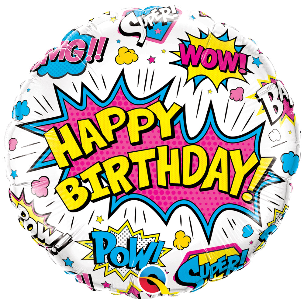 "Birthday Superhero White 18"" Foil Balloon"
