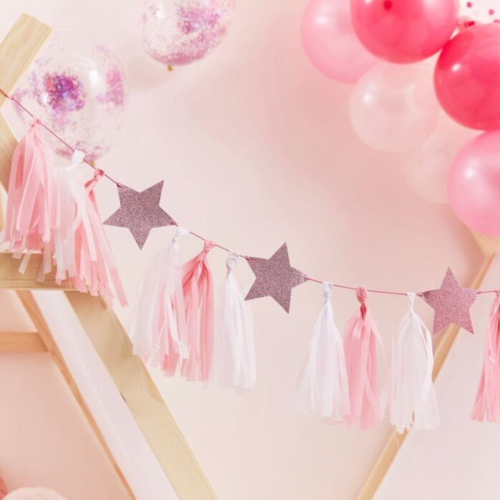 Pink & White Tassel Garland With Stars - 2m