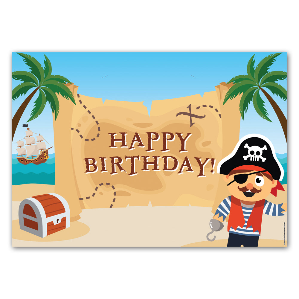 Pirate Happy Birthday Poster Decoration - A3