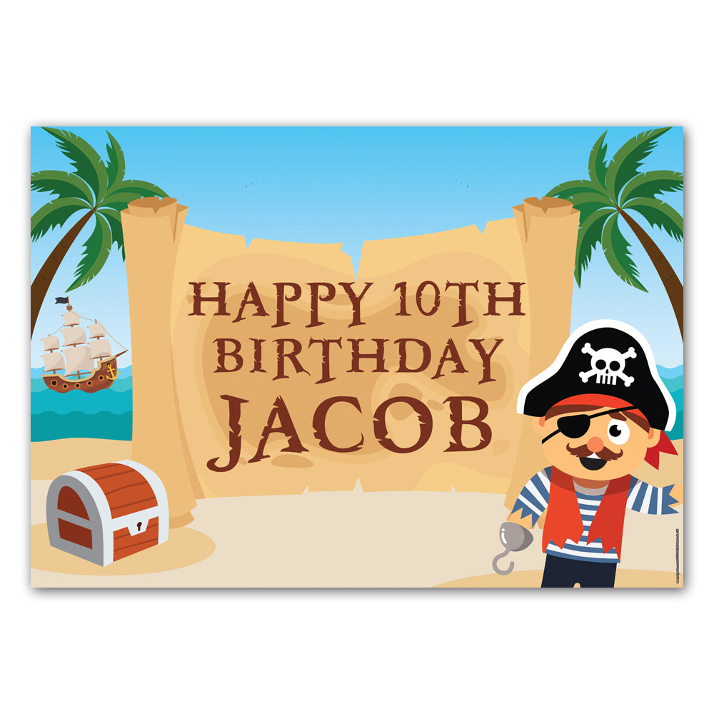 Pirate Personalised Poster Decoration - A3