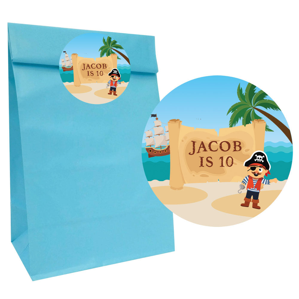Pirate Party Bags with Personalised Stickers - Pack of 12