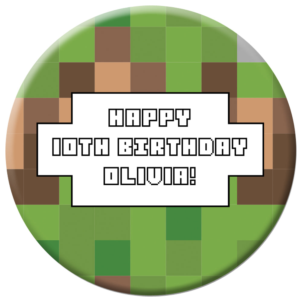 Personalised Pixel Blocks Badge 58mm - Each